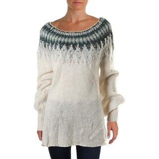 Free People Womens Fair Isle Ribbed Trim Boatneck Pullover Sweater
