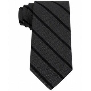 Calvin Klein NEW Black Gold Glimmer Repps Striped Slim Neck Tie Silk