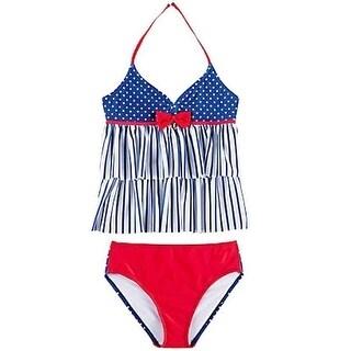 Jantzen Girls Red Navy Stripe Dot Bow Accent 2 Pc Tankini Swimsuit