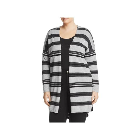 Vince Camuto Womens Plus Cardigan Sweater Open-Front Colorblock