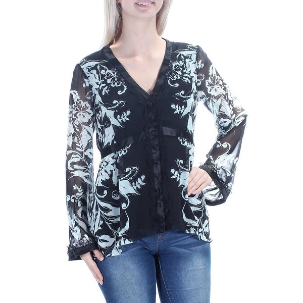 84c53f206c0d6d Shop NANETTE LEPORE Womens Black Floral Long Sleeve V Neck Button Up Top  Size: 4 - On Sale - Free Shipping Today - Overstock - 21529296