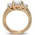 1.50 cttw. 14K Rose Gold Antique Three Stone Princess Diamond Engagement Ring - Thumbnail 1