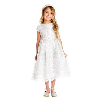 Little Girls Gray Luxe Embroidered Mesh Pearl Christmas Dress 2-6
