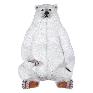Design Toscano Sitting Pretty Oversized Polar Bear Statue with Paw Seat