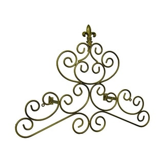 Bronze Finish Fleur De Lis Scroll Drapery Crown/Wall Plaque 23 in. - 18 X 24 X 0.13 inches