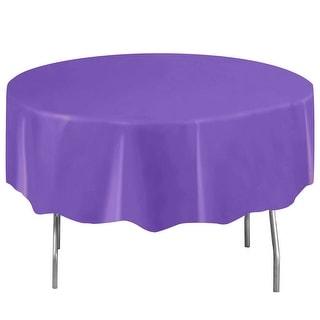 Neon Purple Plastic Table Cover - Round