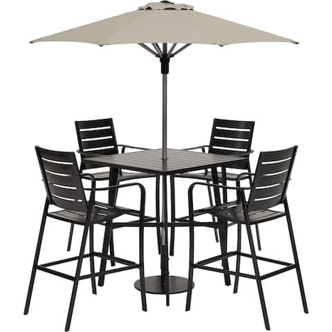 Hanover Cortino 5-Piece Commercial-Grade Counter-Height Dining Set with 4 Chairs, 38-in. Slat-Top Table, 7.5-ft. Umbrella