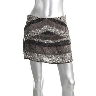 Zara Womens Beaded Lined Mini Skirt - M