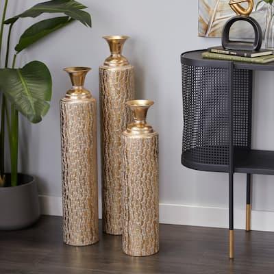 Gold Metal Glam Vase (Set of 3) - 6 x 6 x 34