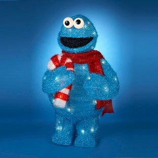 "28"" Pre-Lit Sesame Street Cookie Monster 3-Dimensional Soft Tinsel Holiday Display"