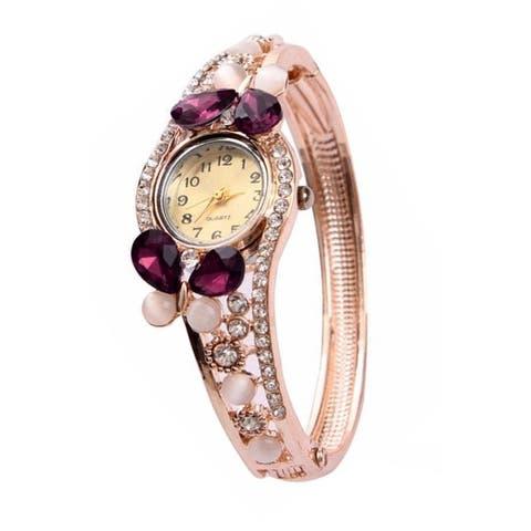Purple Butterfly Watch Crystal Bangle Watch