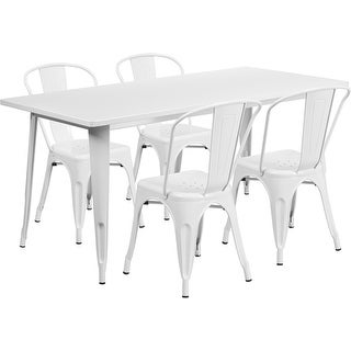Brimmes 5pcs Rectangular 31.5'' x 63'' White Metal Table w/4 Stack Chairs
