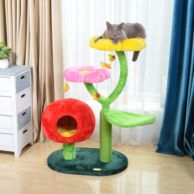 """Catry Gum Drop 31.5"""" Cat Tree with Condo, Scratch Post, Flower and leaf Perch, and Toy"""