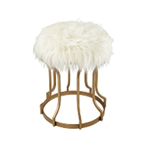 """20.5"""" White Faux Fur Foam in Gold Metal Base Galore Round Ottoman - N/A"""