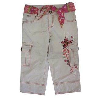 Disney Girls White Bone Floral Embroidered Cargo Capri Pants