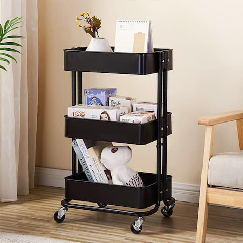 3-Tier Rolling Utility Cart Storage Shelves Trolley Cart