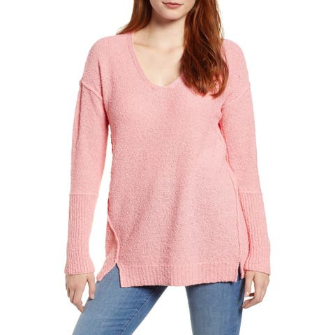 Caslon Womens Sweater Pink Size Small S V-Neck Boucle Tunic Stretch