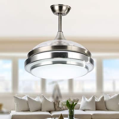 """36"""" Dimmable Retractable Ceiling Fan with LED Light & Remote - 36"""