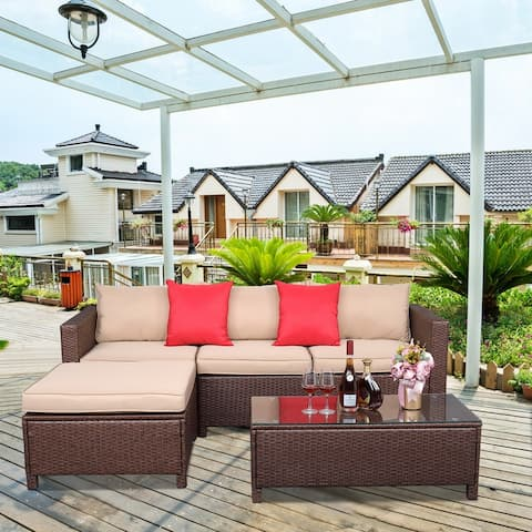Outdoor 5-Piece Wicker Sectional Sofa Conversation Set