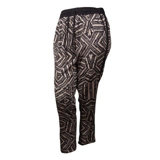 Calvin Klein Women's Pattern Print Drawstring Pants (L, Black Texture) - L