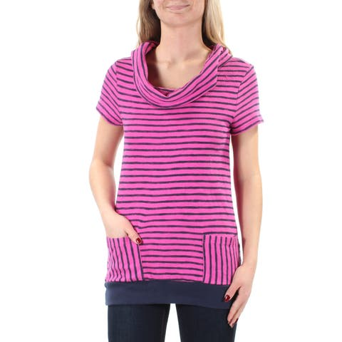 TOMMY HILFIGER Womens Purple Striped Short Sleeve Cowl Neck Top Petites Size: XS