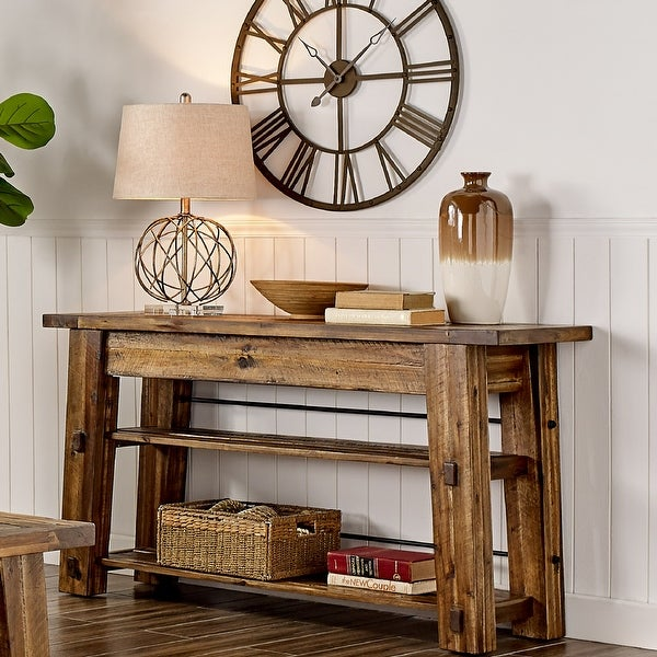 Carbon Loft Bahamondes Wood 54-inch Console Table with 2 Shelves. Opens flyout.