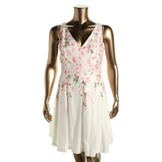 Lauren Ralph Lauren Womens Floral Print Double-V Wear to Work Dress - 10