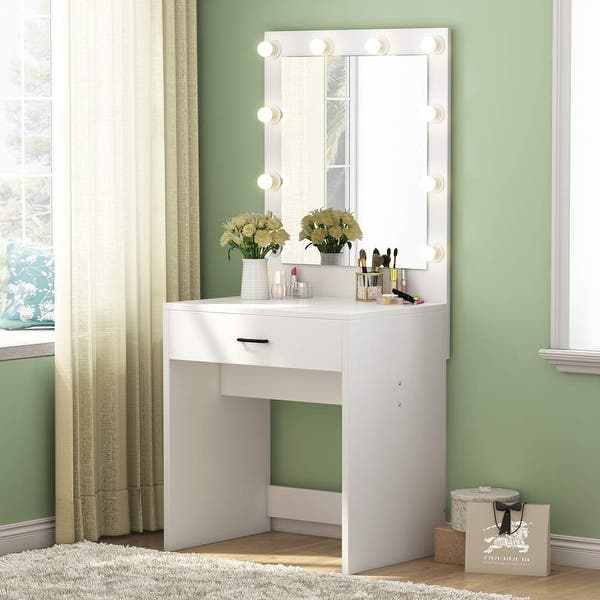 Shop Makeup Vanity With Lighted Mirror Dressing Table Dresser Desk For Bedroom Stool Not Included Overstock 25628566