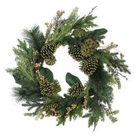 """24"""" Artificial Berries and Pine Cone Decorative Holiday Wreath - brown"""