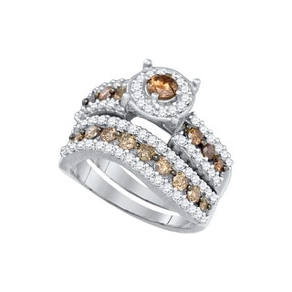 1 3/4Ct Diamond Micro-Pave Bridal Engagement Ring 10K White-Gold