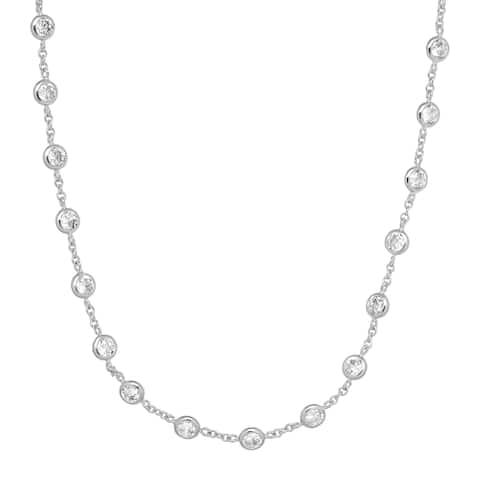"""Cubic Zirconia Station Necklace in Rhodium-Plated Sterling Silver, 20"""" - White"""