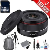 Rokinon AF 35mm f/2.8 FE Lens for Sony E (IO35AF-E) + Deluxe Cleaning Kit + Full Size Tripod + 32GB Class 10 Memory Card Bundle