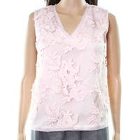 T Tahari NEW Pink Women's Size XS Embroidered Floral Beaded Blouse