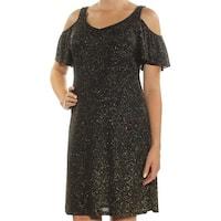 MSK Womens Black Glitter Cold Shoulder Short Sleeve V Neck Above The Knee Fit + Flare Dress  Size: 6