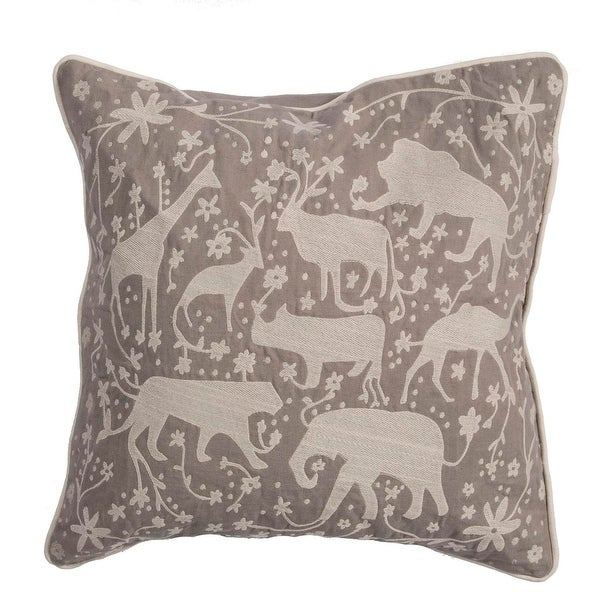 "20"" Taupe and Stone Gray Multiple Animal DecorativeThrow Pillow"