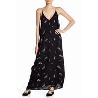 Love Stitch Black Women's Size Large L Floral V-Neck Maxi Dress