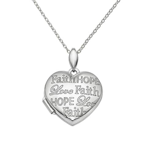 Sterling Silver Rhodium-plated Faith Hope Love Heart Locket with 18-inch Cable Chain by Versil