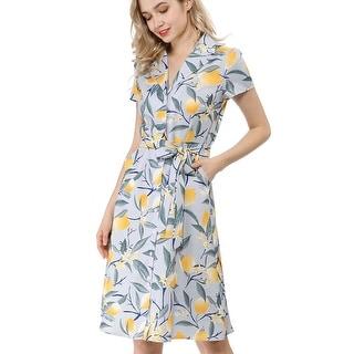 Women's Lemon Print Buttons Down Tie Waist Dress with Pockets