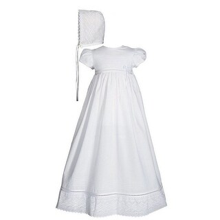 Baby Girls White Cotton Lace Short Sleeve Hat Christening Gown - 6-12 months