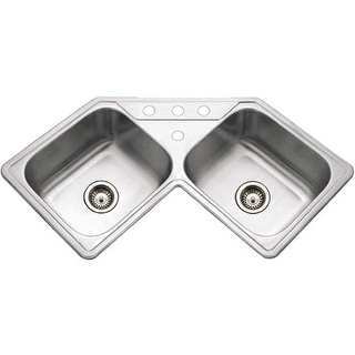 """Houzer LCR-3221  Legend 31-7/8"""" Double Basin Drop In 20-Gauge Stainless Steel Kitchen Sink with 50/50 Split and Sound Dampening"""