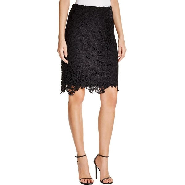 Calvin Klein Womens Pencil Skirt Lace Overlay Knee Length