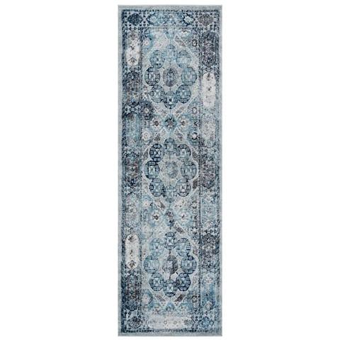 Aurelia Yuni Gray/Blue Bordered Area Rug