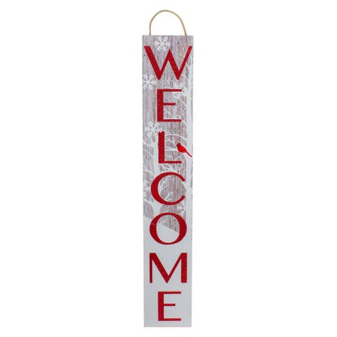 Red and White Cardinal 'Welcome' Christmas Wall Decor