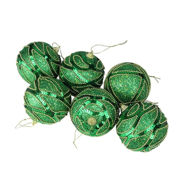 6ct Green and Gold Shatterproof Christmas Ball Ornaments by December Diamonds - 3.75""