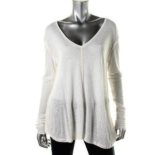 Free People Womens Linen Blend Burnout Casual Top - L