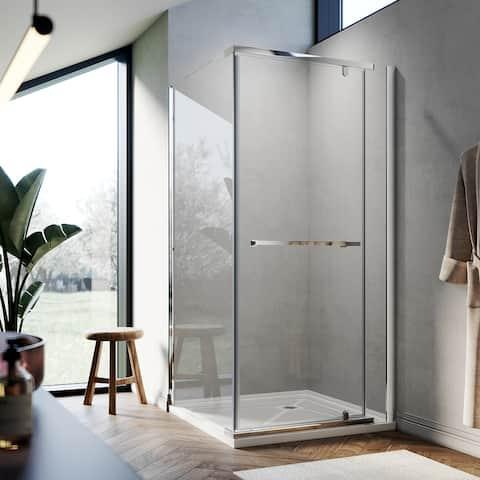 ELEGANT 36 x 36 Pivot Shower Enclosure Door Polished Chrome - 36 x 36 x 72