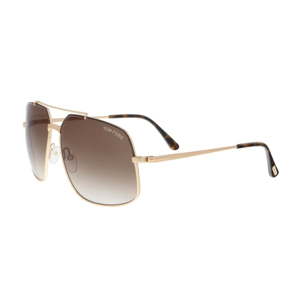 4fbeef2611 Tom Ford FT0439 S 48F RONNIE Gold Brown Oversized Square Sunglasses - 60-