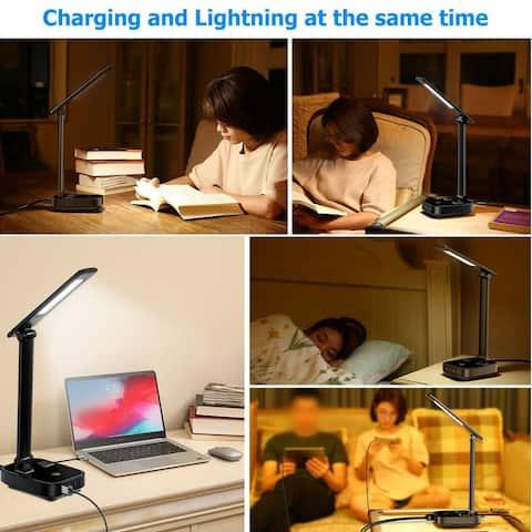 Desk Lamp Decorative with USB Charging Port Dimmer Adjustable - White - M