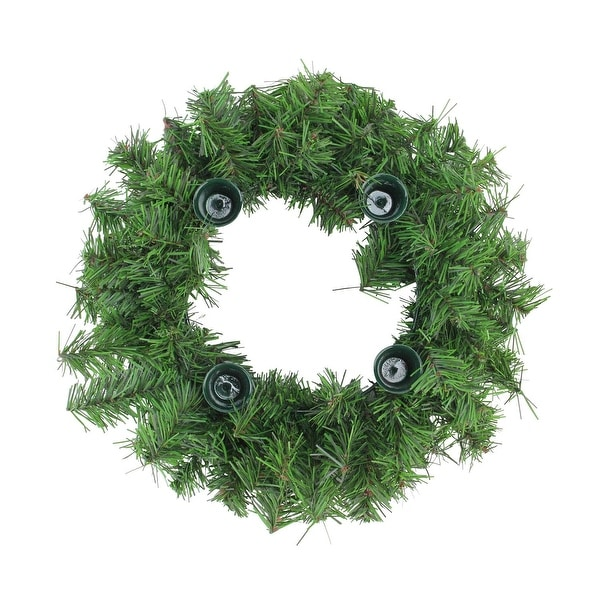 """12"""" Two-Tone Pine Artificial Christmas Advent Wreath - Holds 4 Taper Candles - Green"""
