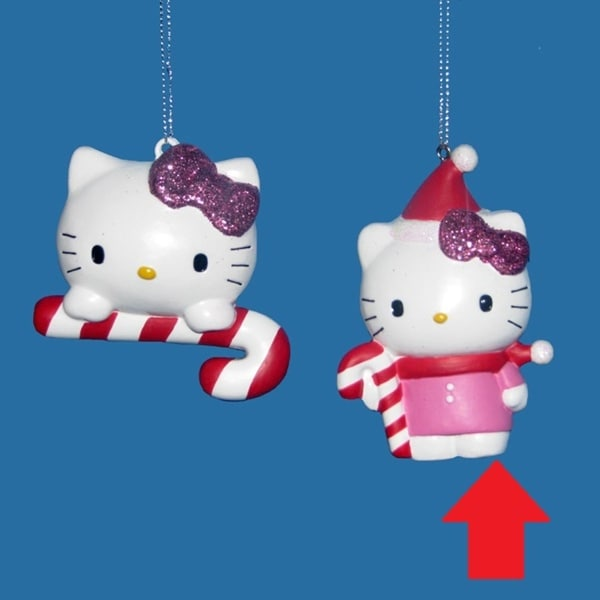 3 75 Hello Kitty With Candy Cane Decorative Christmas Ornament Pink